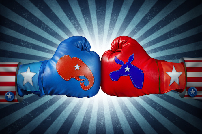 Democrat vs Republican Boxing Gloves Punching
